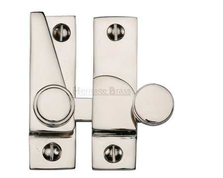 Heritage Brass Hook Plate Sash Fastener (69mm x 20mm), Polished Nickel - V1106-PNF