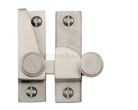 Heritage Brass Hook Plate Sash Fastener (69mm x 20mm), Satin Nickel - V1106-SN