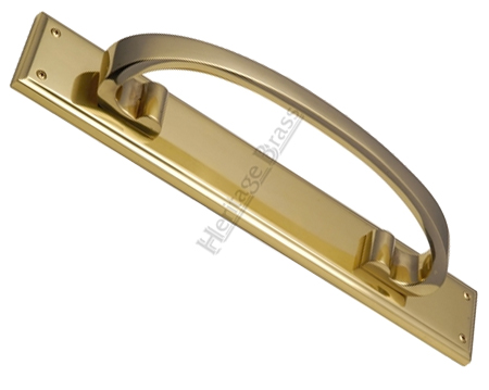 Heritage Brass Large Pull Handle On 464mm Backplate, Polished Brass - V1162-PB