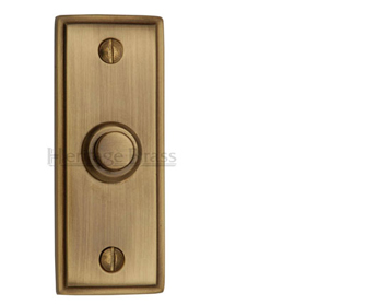Heritage Brass Oblong Bell Push (83mm x 33mm), Antique Brass - V1180-AT