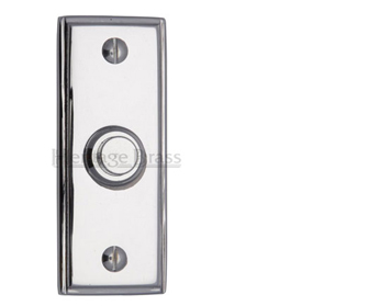 Heritage Brass Oblong Bell Push (83mm x 33mm), Polished Chrome - V1180-PC