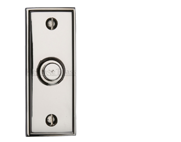 Heritage Brass Oblong Bell Push (83mm x 33mm), Polished Nickel - V1180-PNF