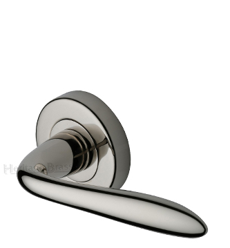Heritage Brass 'Sutton' Polished Nickel Door Handles On Round Rose - V1750-PNF (sold in pairs)
