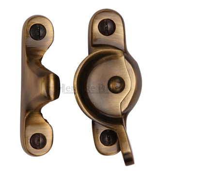 Heritage Brass Fitch Pattern Sash Fastener (66mm x 17mm), Antique Brass - V2060-AT