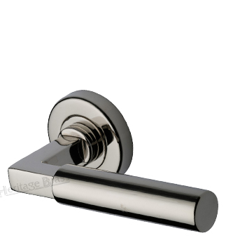 Heritage Brass 'Bauhaus' Polished Nickel Door Handles On Round Rose - V2259-PNF (sold in pairs)