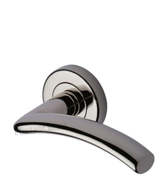 Heritage Brass 'Centaur' Polished Nickel Door Handles On Round Rose - V3490-PNF (sold in pairs)
