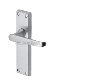Heritage Brass Victoria Satin Chrome Door Handles - V3900-SC (sold in pairs)