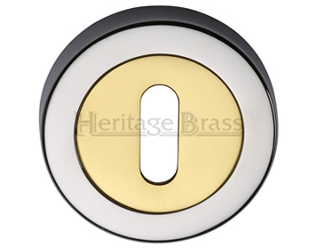Heritage Brass 'Standard' Key Escutcheon, Dual Finish Polished Chrome With Polished Brass - V4000-CB
