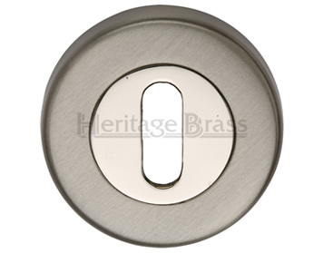 Heritage Brass 'Standard' Key Escutcheon, Mercury Finish Satin Nickel With Polished Nickel - V4000-MC