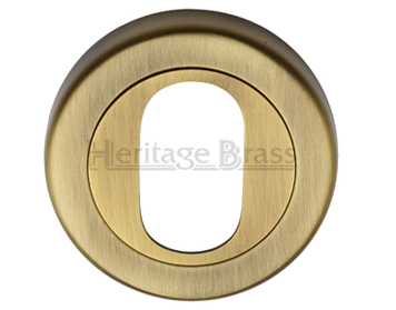 Heritage Brass 'Oval Profile' Key Escutcheon, Antique Brass - V4010-AT