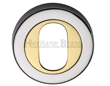 Heritage Brass 'Oval Profile' Key Escutcheon Dual Finish, Polished Chrome With Polished Brass - V4010-CB