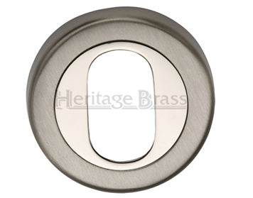 Heritage Brass 'Oval Profile' Key Escutcheon Mercury Finish, Satin Nickel With Polished Nickel - V4010-MC
