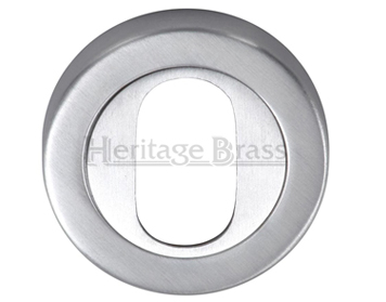 Heritage Brass 'Oval Profile' Key Escutcheon, Satin Chrome - V4010-SC