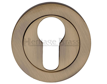 Heritage Brass 'Euro Profile' Key Escutcheon, Antique Brass - V4020-AT