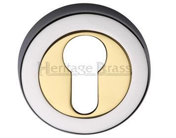 Heritage Brass 'Euro Profile' Key Escutcheon, Dual Finish Polished Chrome With Polished Brass - V4020-CB