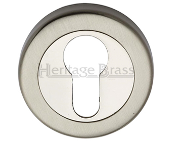 Heritage Brass 'Euro Profile' Key Escutcheon, Mercury Finish Satin Nickel With Polished Nickel - V4020-MC
