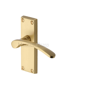 Heritage Brass 'Sophia Short' Satin Brass Door Handles - V4140-SB (sold in pairs)