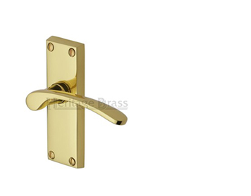 Heritage Brass Sophia Short Polished Brass Door Handles - V4140-PB (sold in pairs)