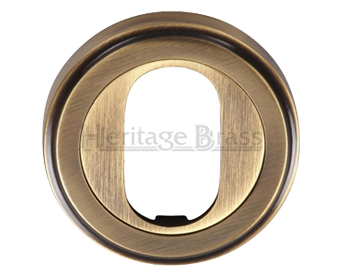 Heritage Brass 'Oval Profile' Key Escutcheon, Antique Brass - V5010-AT
