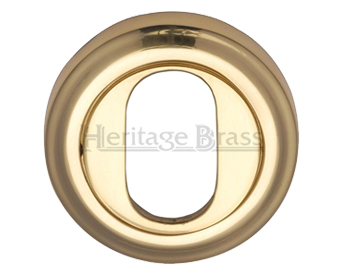 Heritage Brass 'Oval Profile' Key Escutcheon, Polished Brass - V5010-PB