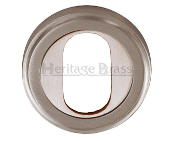 Heritage Brass 'Oval Profile' Key Escutcheon, Satin Nickel - V5010-SN