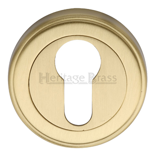 Heritage Brass 'Euro Profile' Key Escutcheon, Satin Brass - V5020-SB