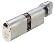 Zoo Hardware Vier Precision Oval Profile 5 Pin Cylinder & Turns (60mm, 70mm OR 80mm), Satin Chrome - V5OP60CTSCE