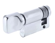 Zoo Hardware Vier Precision Euro Profile Single Body Cylinder Turn Only, Polished Chrome - V5EP40STPC