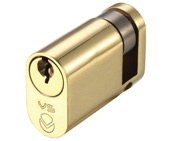Zoo Hardware Vier Precision Oval Profile 5 Pin Single Cylinders (40mm OR 45mm), Polished Brass - V5OP40SPBE