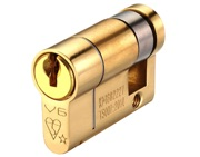 Zoo Hardware Vier Precision Euro Profile British Standard 6 Pin Single Cylinders (Various Sizes), Polished Brass - V6EP46SPBE
