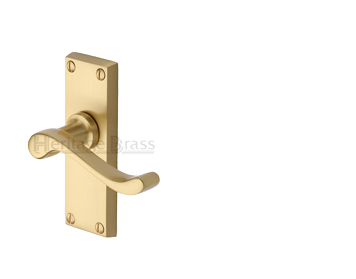Heritage Brass 'Bedford Short' Satin Brass Door Handles -  V800-SB (sold in pairs)