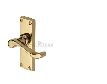 Heritage Brass Bedford Short Polished Brass Door Handles - V800-PB (sold in pairs)
