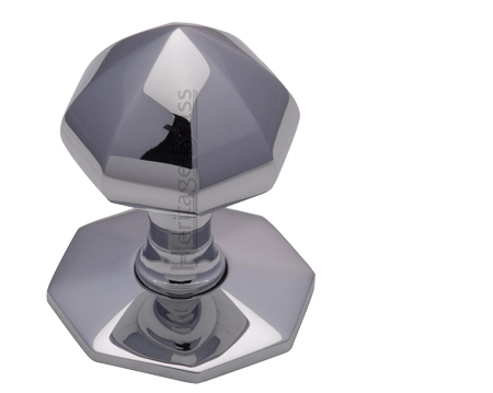 Heritage Brass Faceted Centre Door Knob, Polished Chrome - V880-PC