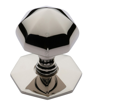 Heritage Brass Faceted Centre Door Knob, Polished Nickel - V880-PNF