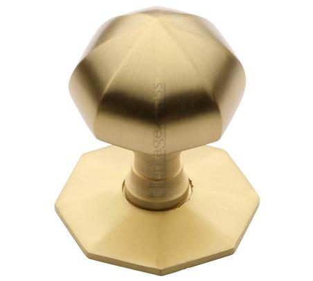 Heritage Brass Faceted Centre Door Knob, Satin Brass - V880-SB from ...