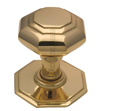 Heritage Brass Octagonal Tiered Centre Door Knob, Polished Brass - V890-PB