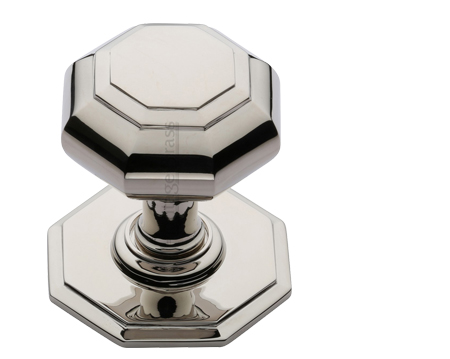 Heritage Brass Octagonal Tiered Centre Door Knob, Polished Nickel - V890-PNF