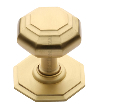 Heritage Brass Octagonal Tiered Centre Door Knob, Satin Brass - V890-SB