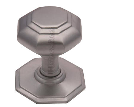 Heritage Brass Octagonal Tiered Centre Door Knob, Satin Chrome - V890-SC