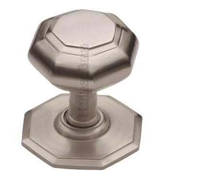 Heritage Brass Octagonal Tiered Centre Door Knob, Satin Nickel- V890-SN