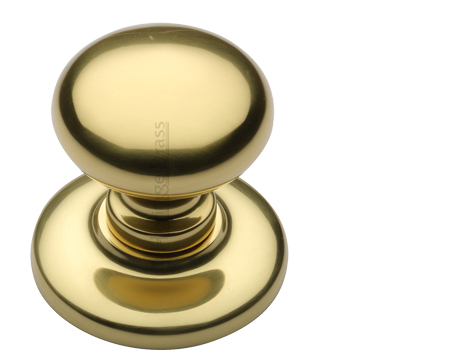Heritage Brass Round Centre Door Knob, Polished Brass - V901-PB