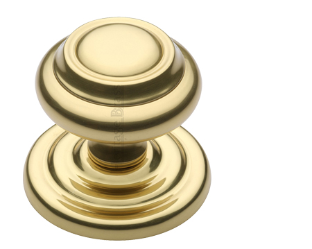Heritage Brass Round Centre Door Knob, Polished Brass - V905-PB
