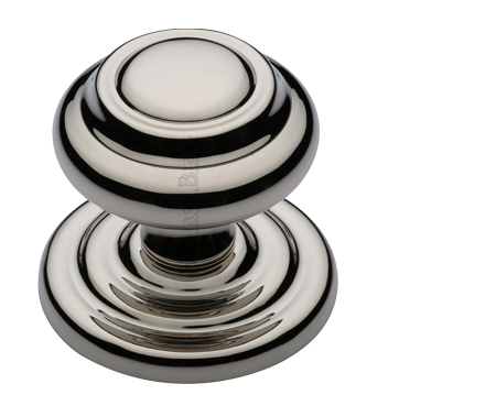 Heritage Brass Round Centre Door Knob, Polished Nickel - V905-PNF
