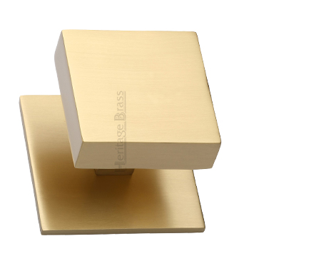 Heritage Brass Square Centre Door Knob, Satin Brass - V908-SB