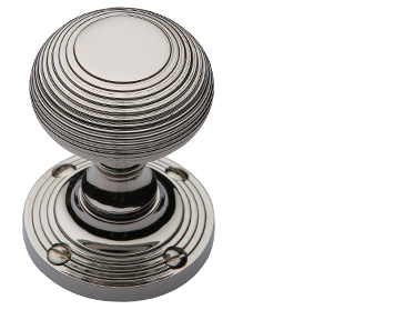 Heritage Brass 'Reeded' Mortice Door Knob, Polished Nickel - V971-PNF (sold in pairs)
