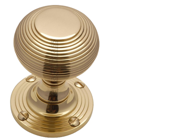 Heritage Brass 'Reeded' Mortice Door Knob, Polished Brass - V971-PB (sold in pairs)