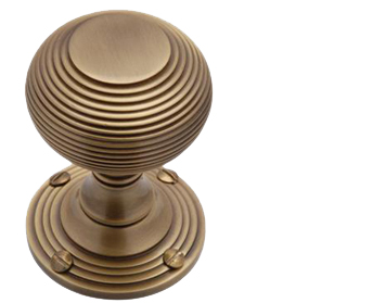REEDED MORTICE DOOR KNOBS,  ANTIQUE FINISH - V971AT