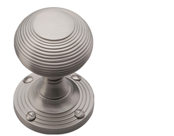 Heritage Brass 'Reeded' Mortice Door Knob, Satin Nickel - V971-SN (sold in pairs)