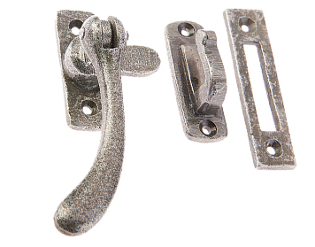 Jedo Collection Valley Forge Bulb End Casement Window Fastener (95mm x 55mm), Pewter Patina - VF19PD