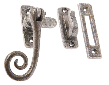 Jedo Collection Valley Forge Curly Tail Casement Window Fastener (90mm x 55mm), Pewter Patina - VF19RT